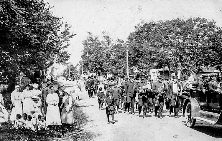 Parade on Main Street, Tobyhanna, World War I era
